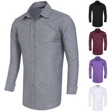 New Mens Luxury Casual Formal Long Sleeve Fitted Business Dress Shirts S~XL