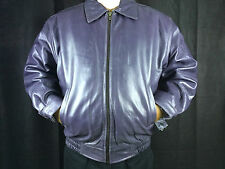 Mens Genuine Leather Bomber Coat Military Jacket Removable Fur Lining Gray Large
