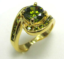 SIZE:9 Fashion Jewelry Nice Woman's 10KT yellow Gold Filled peridot ring