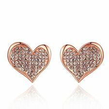 Fashion Women 18K Yellow Rose White GP Love Heart Swarovski Crystal Stud Earring