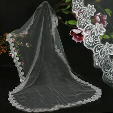 1 Layer White/ivory Cathedral Length Lace Edge Bride Wedding Bridal Veil + comb