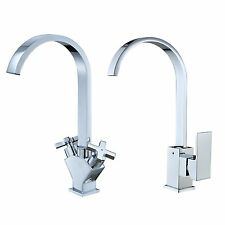 Square Monobloc Kitchen Sink Mixer Tap with Swivel Spout Chrome Brass Swan Neck