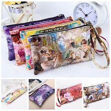 Women Lady PU Leather Coin Bag Case Card Holder Phone Zip Clutch Wallet Purse RW