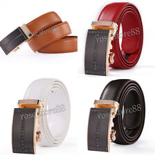 Luxury Mens Genuine Leather Automatic Buckle Casual Waist Strap Belt Waistband
