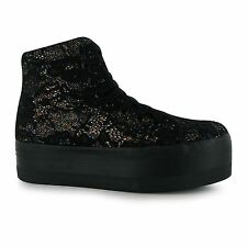 Jeffrey Campbell Play Glitter hOMG Platform Shoes Womens Black Trainers Sneakers