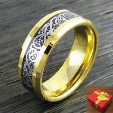 8mm 14K Gold IP Tungsten Ring, Silver Celtic Dragon on Black Inlay, Size 9-13