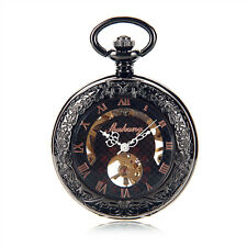 Roman Half Hunter See Though Case Skeleton Hand Wind Mechanical Men Pocket Watch