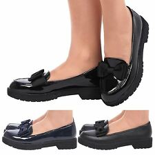 WOMENS GIRLS SCHOOL SHOES CHUNKY BOW LOAFERSL SLIP ON LADIES KIDS PUMPS SIZE NEW