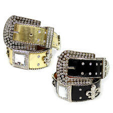 Western Cowgirl Square Rhinestone Fleur De Lis Studded Belt Black Gold New