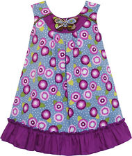 Girls Dress Cotton Floral Print Beaded Butterfly Purple Size 7-14 US Seller