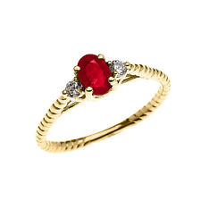 10k Yellow Gold Dainty Solitaire Ruby & White Topaz Promise Rope Design Ring
