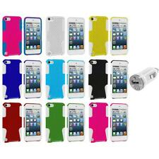 Hybrid Mesh Hard/Soft Skin Case Cover+USB Charger for iPod Touch 5th Gen 5G 5