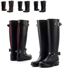 New Women's Rain Boots Waterproof Knee High Shoes Zip Rainy Day Booties Non-skid