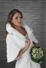 WEDDING white/ivory FAUX FUR BRIDAL SHAWL WRAP STOLE SHRUG BOLERO CAPE