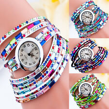Fashion Retro Lady Women Leather leaf Bangle Analog Quartz Wrist Watch Bracelet