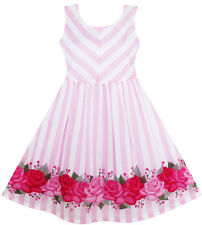 US STOCK Sunny Fashion Girls Dress Striped Rose Print Tulle Pink Size 7-14