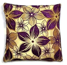 AUBERGINE YILDIZ FLORAL FLOWERS 18x18 CHENILLE CUSHION COVER - UK MADE (45x45cm)