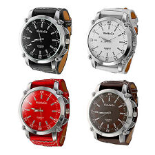 WOMAGE Faux Leather Oversized Men Quartz Wrist Watch  YM