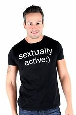 Lucky 7 Black Mens Sextually Active :) Crew Neck Text Sexting T-Shirt $39.00 CAD