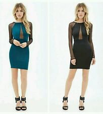 Forever 21 Black Teal Mesh-Paneled Bodycon Party Dress S/M/L