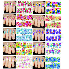1 Sheet Colorful Beauty Flower Water Transfer Sticker Decal Nail Art Manicure WT