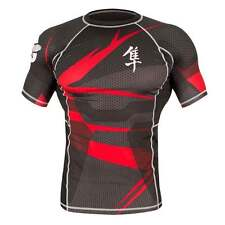 Hayabusa Metaru MMA Rash Guard - Short Sleeve - Black Red