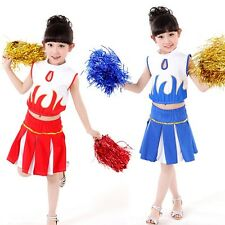 New Kids Dancewear Girls Cheerleader Sports Uniform School Outfit Set Top&Skirt