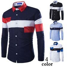 Modern Mens Slim Fit Long Sleeve Leisure Shirt Stylish Splice Casual Tee Shirts