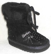 NEW SKECHERS KEEPSAKES  PEACEFUL BLACK SWEATER BOOTS GIRLS