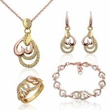 Womens 18K Gold Filled Crystal Heart Necklace Earrings Ring Bracelet Jewelry Set
