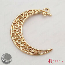 40*28MM Alloy Curling Pattern Moon Pendants Jewelry Findings Accessories 29598