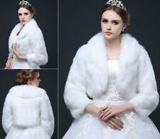 White/ivory Faux Fur Shawl Cape Wrap Stole Bolero Luxury Bridal Wedding Jacket