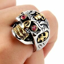 316L Stainless Steel Fashion Silver Gold Skull Mens Ring Biker Jewelry Size 8-13