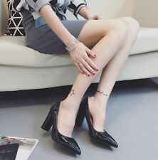 3.54 inch Party Block High Heels Pointed Toe Pumps Patent Leather Wedding Shoes