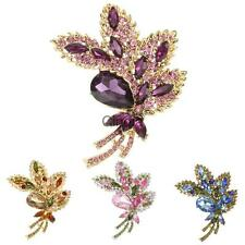 Large Flower Bow Crystal Rhinestone Diamante Women Corsage Brooch/Pin Jewelry