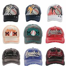 Caps Baseball Vintage Glitter Mom USA Stars Stripes America Pastime Frayed Cute