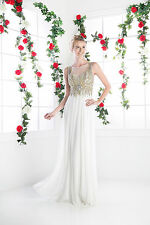 Long Prom Dresses Sleeveless Flowy Chiffon Beaded Bodice Formal Evening Gown