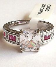 Silver Rhodium Plated Princess Cut Ring Pink Cubic Zirconia Size 5 6 7 8 9 10