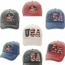 Cap USA God Bless America Bald Eagle Stars Stripes Flag Vintage Torn Frayed Mens