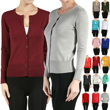 Basic Classic Crew Neck Long Sleeve Button Down Light Knit Thin Cardigan Sweater