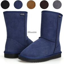 New Womens Winter Warm Snow Boots Thicken Faux Fur Suede Ladies Flat Shoes BF9