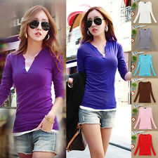 Women's Stylish Sexy V Neck Blouse Slim Casual Bottoming Shirt Long Sleeve Tops