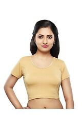 Indian Saree Blouse Gold Cotton Lycra Party Wear Tunic Stretchable Choli Top
