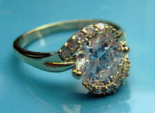 size:7.5/8.5 brand new lady's white sapphire cz 10kt yellow gold filled  GF ring