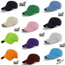NWT WHOLESALE LOT 12-96  Plain Blank Baseball Caps Adjustable Back 100% Cotton