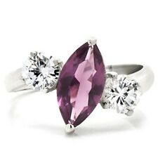 Sterling Silver Simulated Amethyst Ring Marquis Purple Cubic Zirconia Size 9 10