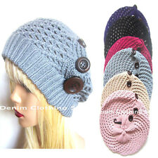 Ladies Fall Knitted Crochet Beret Tam Newsboy Ski Beanie Slouchy Hat / 4 Buttons