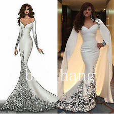 Fashion Mermaid Prom Dresses With Cape White Formal Party Gowns Little Girl Gown