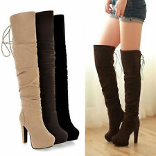 Womens Pull On Lace Up Pleated Slouch High Heel Over The Knee Winter Boots Shoes