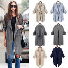 Autumn Womens Waterfall Long Sleeve Cardigan Long Top Trench Duster Coat Jacket